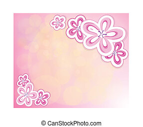 A pink stationery with flowers