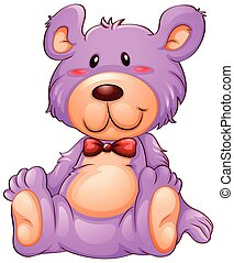 A pink teddy bear on white background