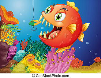 A piranha under the sea