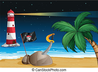A pirate flag and a sword at the seashore