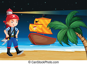 A pirate near the seashore with a pirate boat