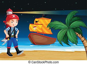 A pirate near the seashore with a pirate boat