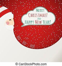 a, piros, karácsonyi üdvözlőlap, noha, mikulás