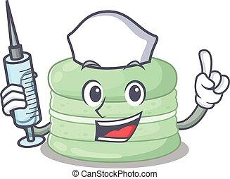 A pistachio macaron hospitable Nurse character with a syringe