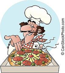 A pizza baker - Vector cartoon illustration of a pizza baker