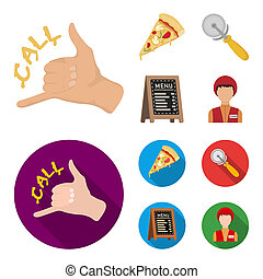 A pizza cutter, a slice, a menu in a pizzeria, a courier. Pizza and pizzeria set collection icons in cartoon, flat style bitmap symbol stock illustration web.