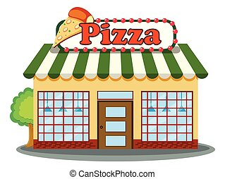 A Pizza Shop on White Background