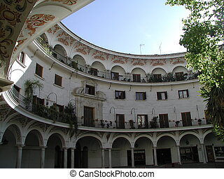 a place in sevilla - a round place in sevilla, spain