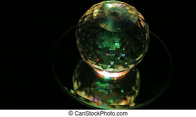 crystal ball - A plain crystal ball, sitting on black cloth.