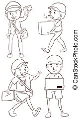 Illustration of a plain drawing of a postman on a white background