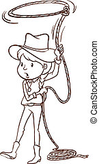 Illustration of a plain sketch of a cowgirl on a white background