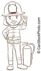A plain sketch of a fireman