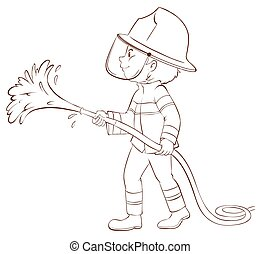 A plain sketch of a fireman holding a hose