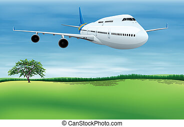 A plane about to land - Illustration showing a plane about...