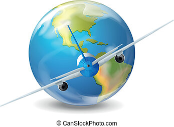 A plane and the planet earth
