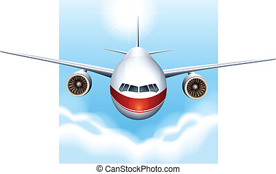 A plane in the sky - Illustration of a plane in the sky on a...
