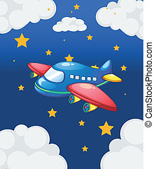 A plane in the sky with many stars