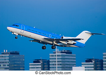 plane take off - a plane take off at schiphol airport in...