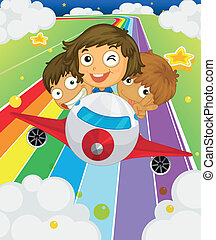 A plane with three playful kids - Illustration of a plane...