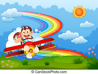Illustration of a plane with two boastful monkeys and a rainbow in the sky