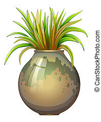 Illustration of a plant in a big pot on a white background