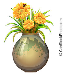 A plant in a pot with blooming flowers - Illustration of a...