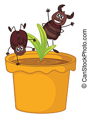 A plant in a pot with two smiling cockroaches