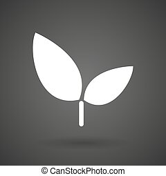 a plant white icon on a dark background