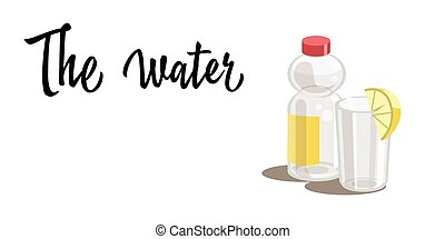 A plastic bottle with water and a glass with water and a slice of lemon isolated on white background. Vector