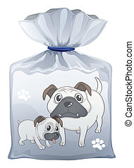 A plastic pouch with a picture of two cute dogs