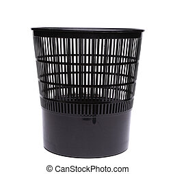 A plastic trash can isolated on white background