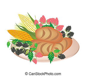 A Plate of Cornbread with Berry Fruit and Sweet Corn - An...