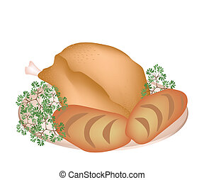 A Plate of Delicious Roast Turkey with Cornbread - An...