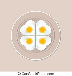 A plate of fried eggs in the shape of a heart
