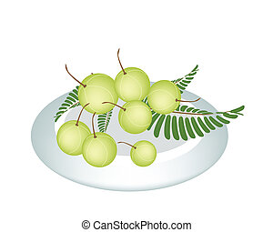 A Plate of Indian Gooseberry on White Background