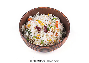 A plate of rice with vegetables on white