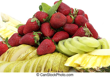 fruit - a plate of ripe juicy fruit on white background