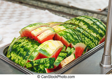 A plate of slices of ripe watermelon