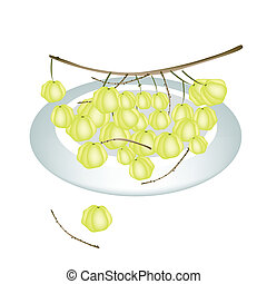 A Plate of Star Gooseberry Isolated On White Background