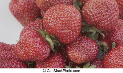 a plate of strawberry close-up