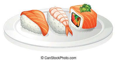 A plate of sushi - Illustration of a plate of sushi on a...