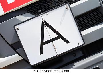 A-plate - vertical foldaway A-plate (German warning plate...