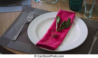 a plate surrounded by cutlery of wine glasses and glasses on which lies a pink napkin with a green twig
