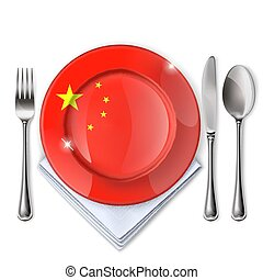 A plate with an Chinese flag.