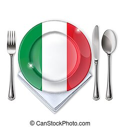 A plate with an Italian flag
