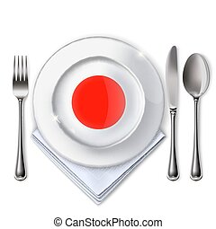 A plate with an Japanese flag.