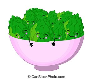 a plate with artichokes. Vector illustration on white background