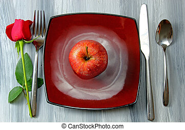 A plate with cutlery