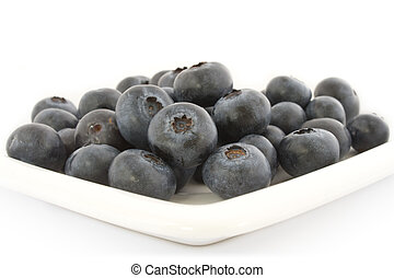 A plate with fresh blueberries