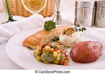 A plate with salmon and pear